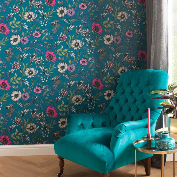 Papel pintado flores con pájaros Bloom 676001