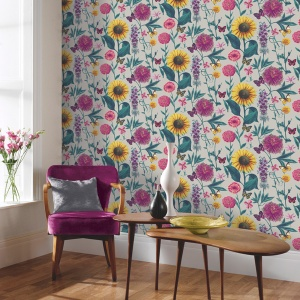 Papel pintado girasoles con mariposas Bloom 676204