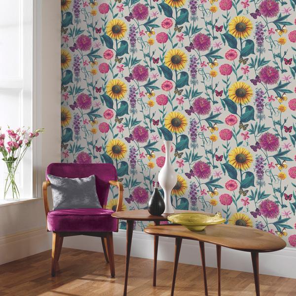 Papel pintado girasoles con mariposas Bloom 676204