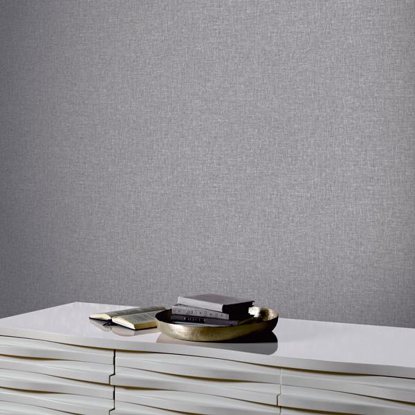 Papel pintado imitación lino gris 676007