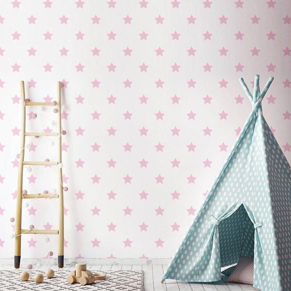 Papel pintado infantil estrellas rosas 934