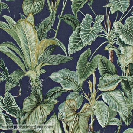 Papel pintado hojas verdes fondo azul oscuro 6303-08