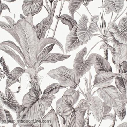 Papel pintado hojas beige fondo blanco 6303-10