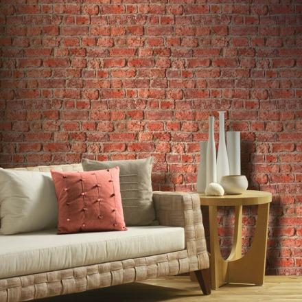 Papel pintado ladrillo rústico color rojizo Textures Naturale