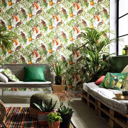 Papel pintado tropical aves exóticas 6302-07
