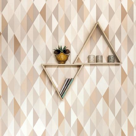 Papel pintado geométrico triángulos beige Spaces