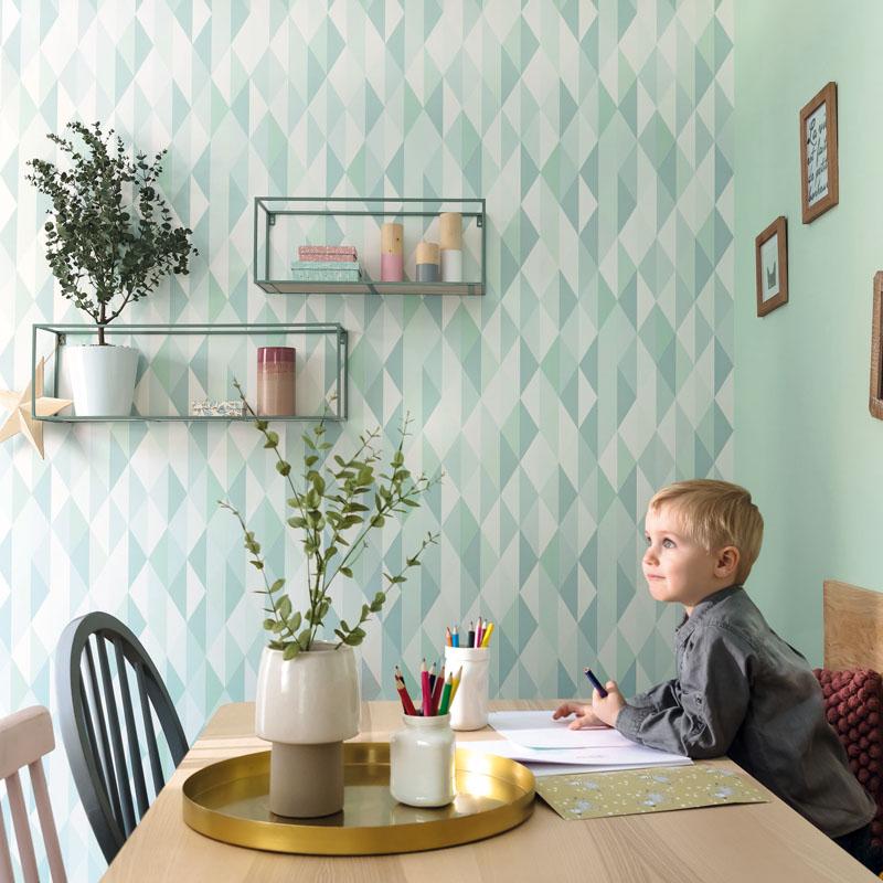 Papel pintado geometrico azul y verde Spaces