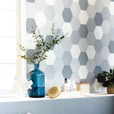 Papel pintado geométrico hexágonos azules Spaces