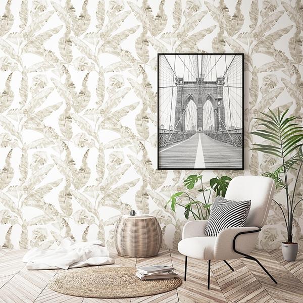 papel pintado hojas doradas para un salón