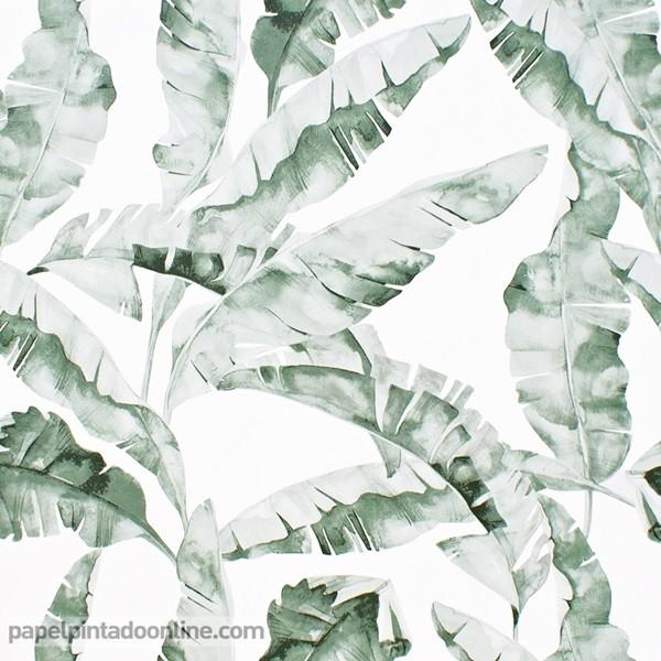 Papel pintado hojas verde acuarela