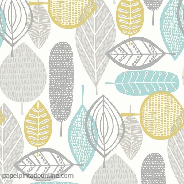 Papel pntado hojas turquesa y verde oliva