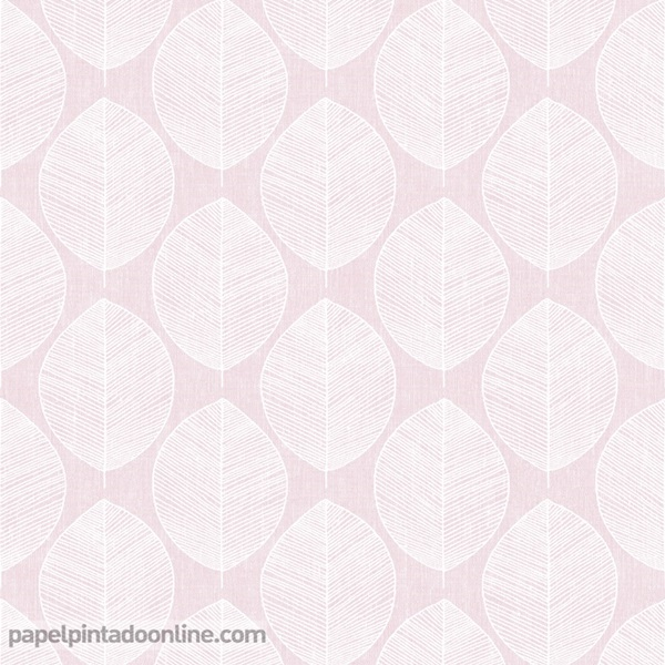 Papel pintado hojas rosa pastel