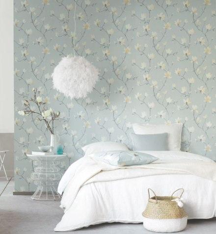 decoración papel pintado flores para el dormitorio