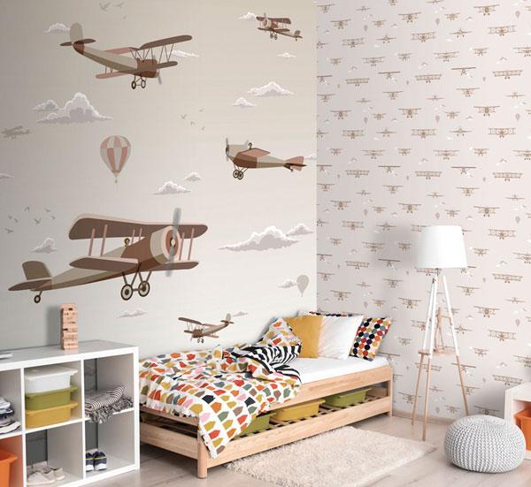 Papel pintado avionetas infantiles Sambori
