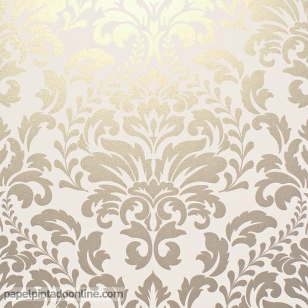 papel pintado damasco dorado