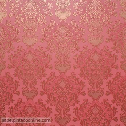 Papel pintado vintage damasco rojo y dorado