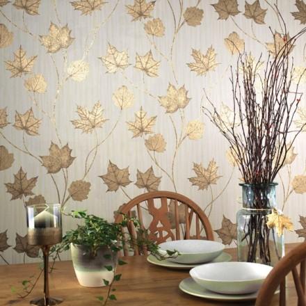 Papel pintado hojas de otoño doradas
