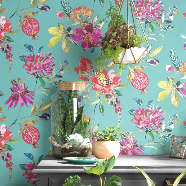 Papel pintado flores y frutas