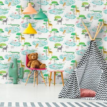 Papel pintado animales selva decoración infantil