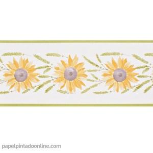 Cenefa papel pintado floral