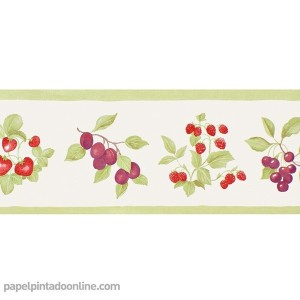 Cenefa papel pintado frutas