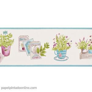 Cenefa papel vinilico plantas