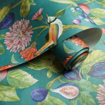 Papel pintado plantas frutas y pájaros