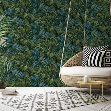 Papel pintado hojas tropicales azul verdoso