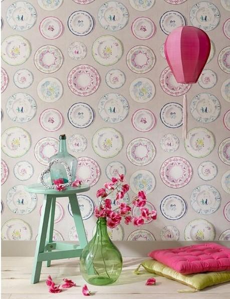 Papel pintado platos decorativos