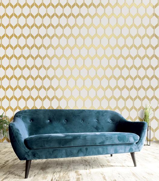 papel pintado geométrico ocre dorado