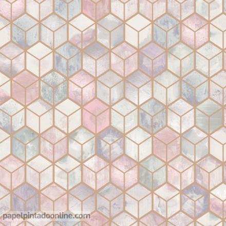 Papel pintado geométrico rosa cobre