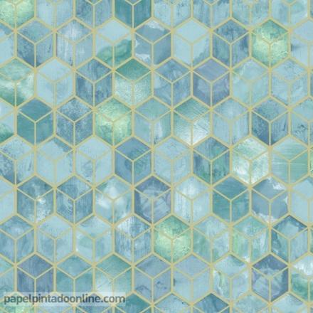 Papel pintado geométrico verde esmeralda con azul