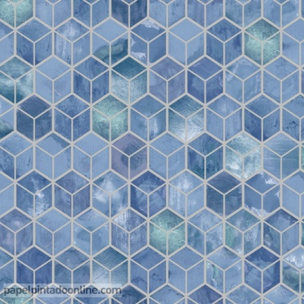 Papel pintado geométrico azul