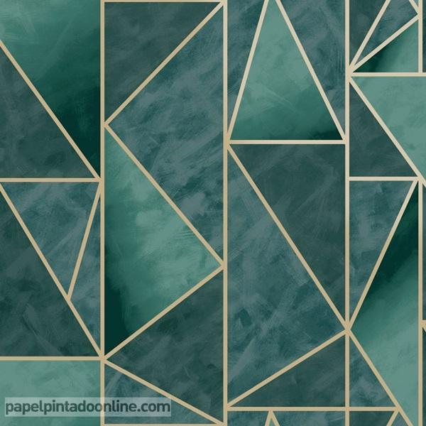 Papel pintado geométrico verde esmeralda con dorado
