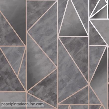 Papel pintado geométrico gris con oro rosado
