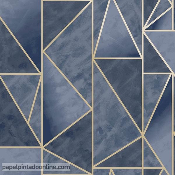 Papel pintado geométrico azul marino con dorado