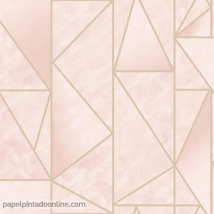 Papel pintado geométrico dorado con rosa